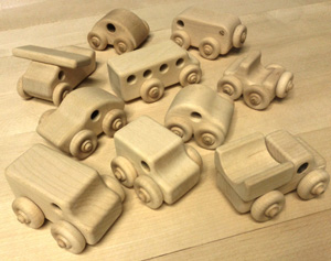 Set of 10 Wooden Block Play Unit Block Play Made in the USA Toy Vehicles including Wooden Toy Airplane, Wooden Toy Cars, and Wooden Toy Trucks, all made in the USA from Hard Rock Maple.